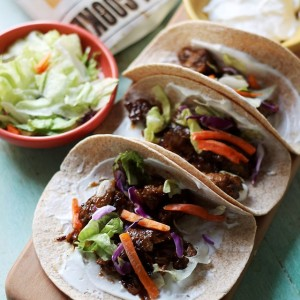 Sweet Korean BBQ Beef Tacos