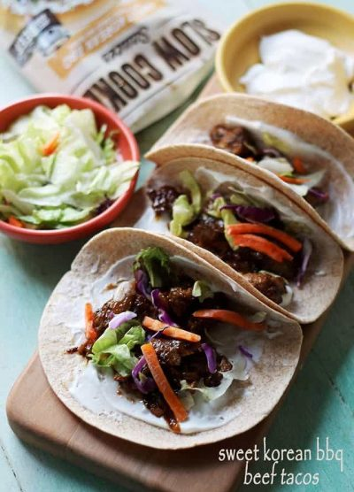 Sweet Korean BBQ Beef Tacos | www.diethood.com