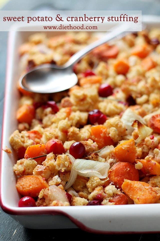 Sweet Potato and Cranberry Stuffing | www.diethood.com