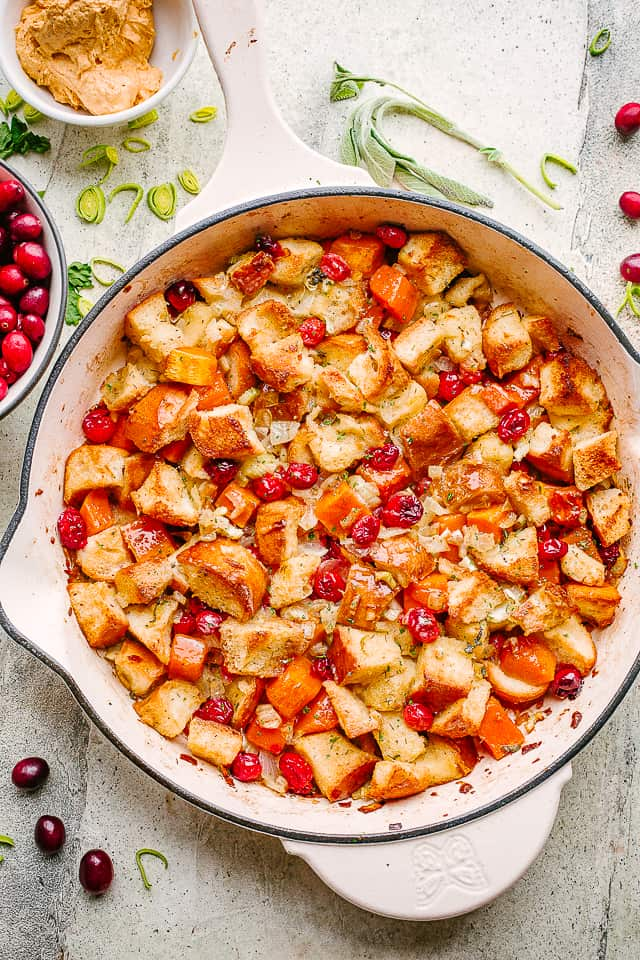 Sweet Potato and Cranberry Stuffing in a skillet.