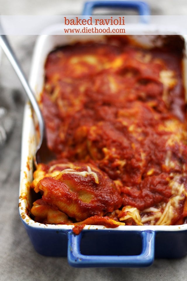 Baked Ravioli And Meat Sauce Recipe — Dishmaps