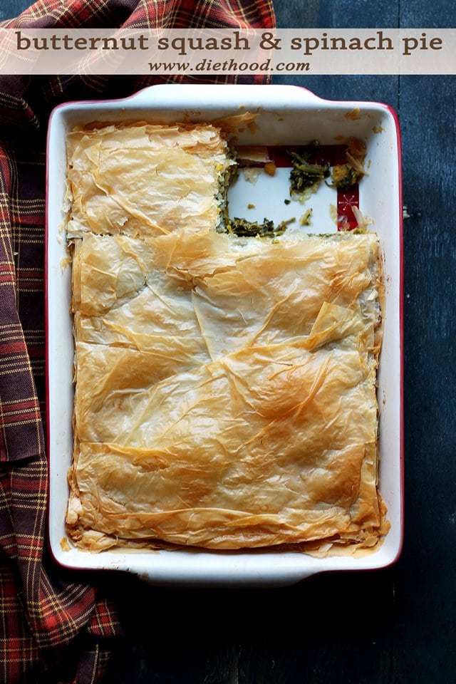 Butternut Squash and Spinach Pie | www.diethood.com | A delicious pan ...