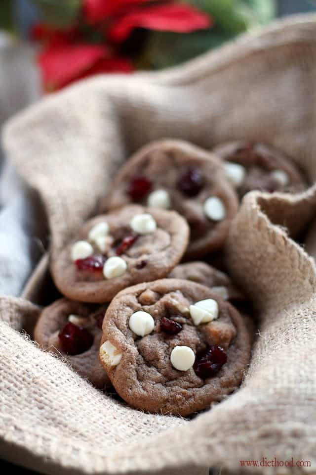 Cranberry White Chocolate Chip Nutella Cookies | www.diethood.com ...