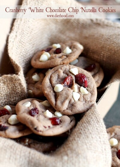 Cranberry White Chocolate Chip Nutella Cookies | www.diethood.com