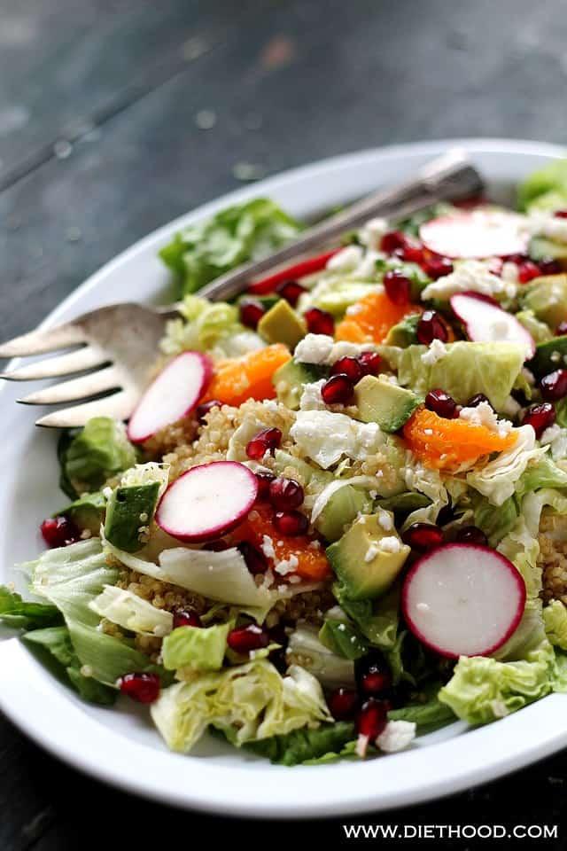 Pom Citrus Quinoa Salad Diethood Pomegranate Citrus Quinoa Salad with Cranberry Pomegranate Vinaigrette
