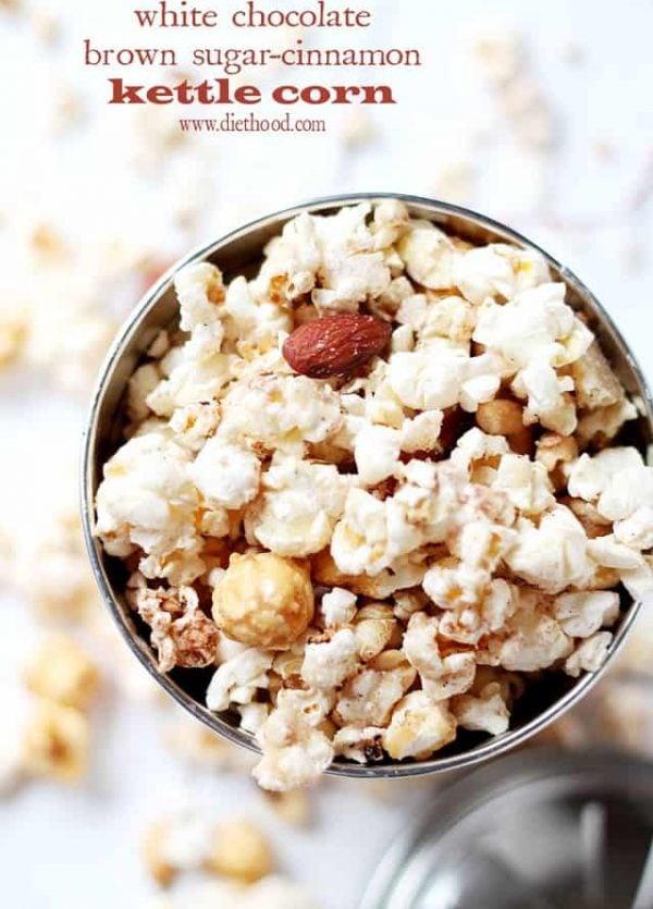 White Chocolate Brown Sugar-Cinnamon Kettle Corn | www.diethood.com