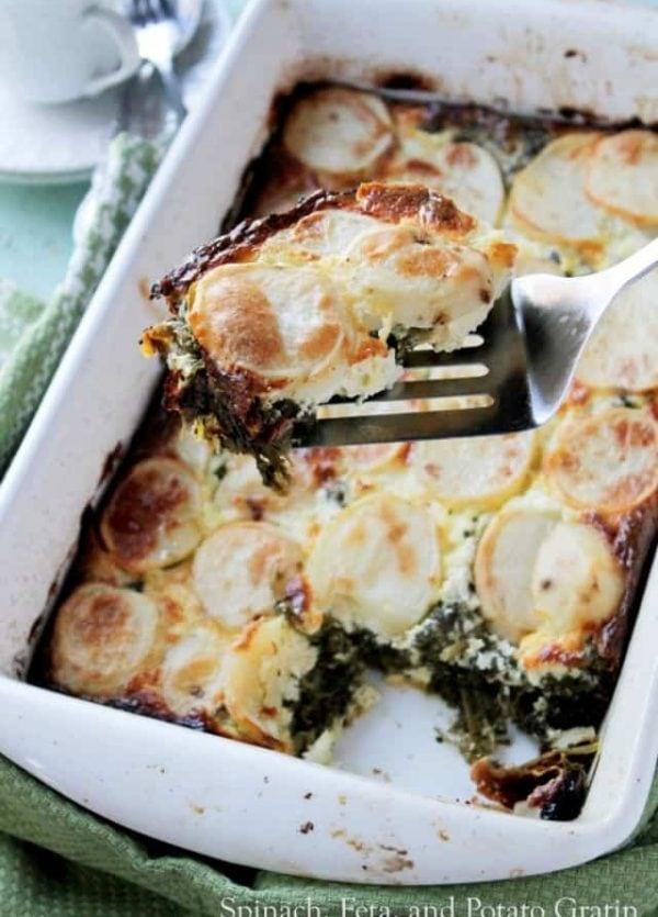 Spinach, Feta and Potato Gratin | www.diethood.com