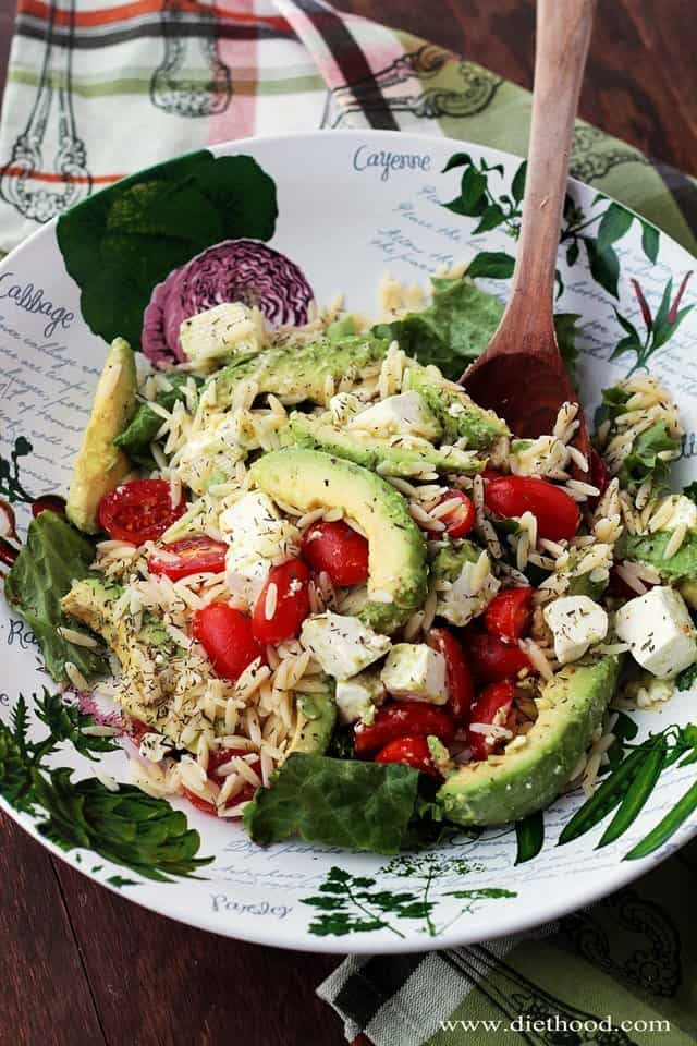 Avocado Feta Orzo Salad Diethood Avocado and Feta Cheese Orzo Salad