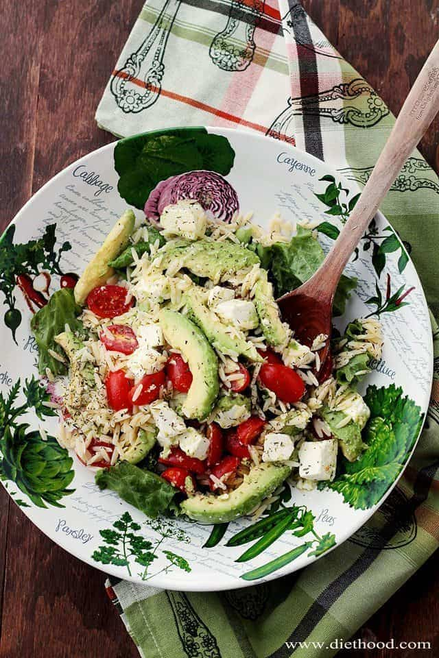 Avocado Feta and Orzo Salad Diethood Avocado and Feta Cheese Orzo Salad