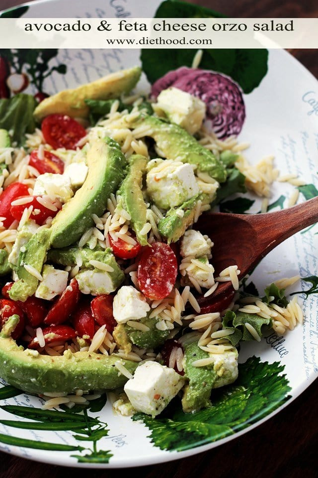 Avocado and Feta Cheese Orzo Salad served in a salad bowl