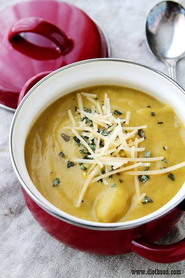 Cream of Broccoli and Potato Soup | www.diethood.com