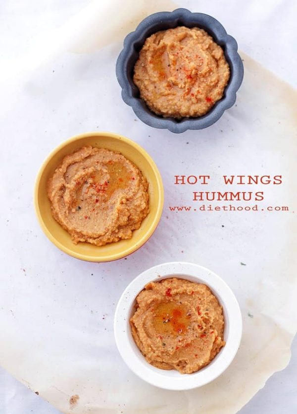 Hot Wings Hummus | www.diethood.com | A delicious hummus recipe with garbanzo beans and hot sauce, makes for a wonderful game-day snack or appetizer.
