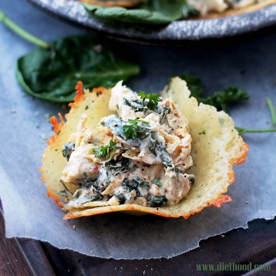 Spinach and Artichoke Dip Parmesan Cups   www.diethood.com   Creamy, cheesy, spicy Spinach and Artichoke Dip served in delicious, homemade Parmesan Cups.