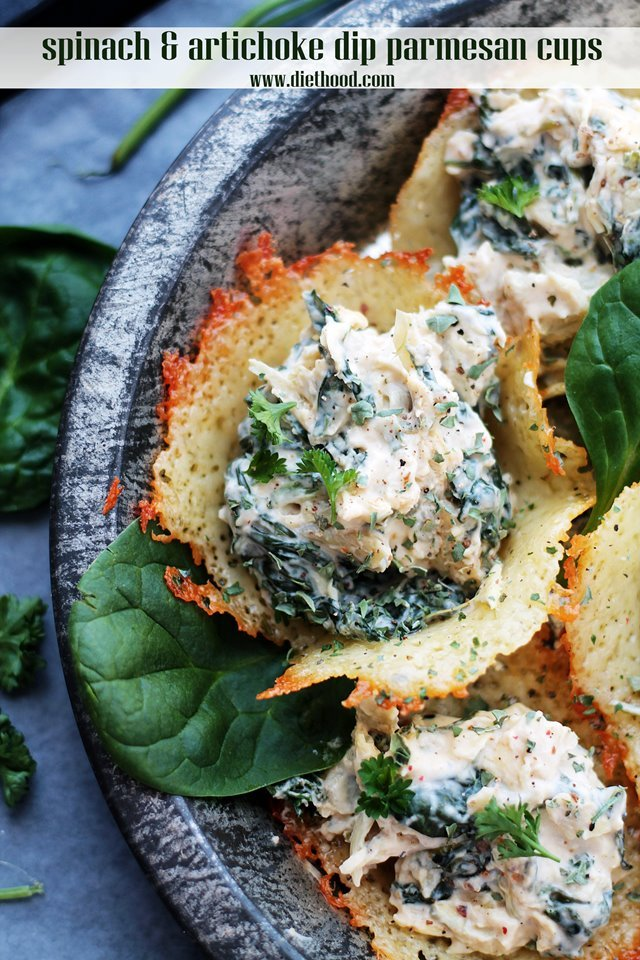 Spinach and Artichoke Dip Parmesan Cups Diethood Hot Wings Hummus