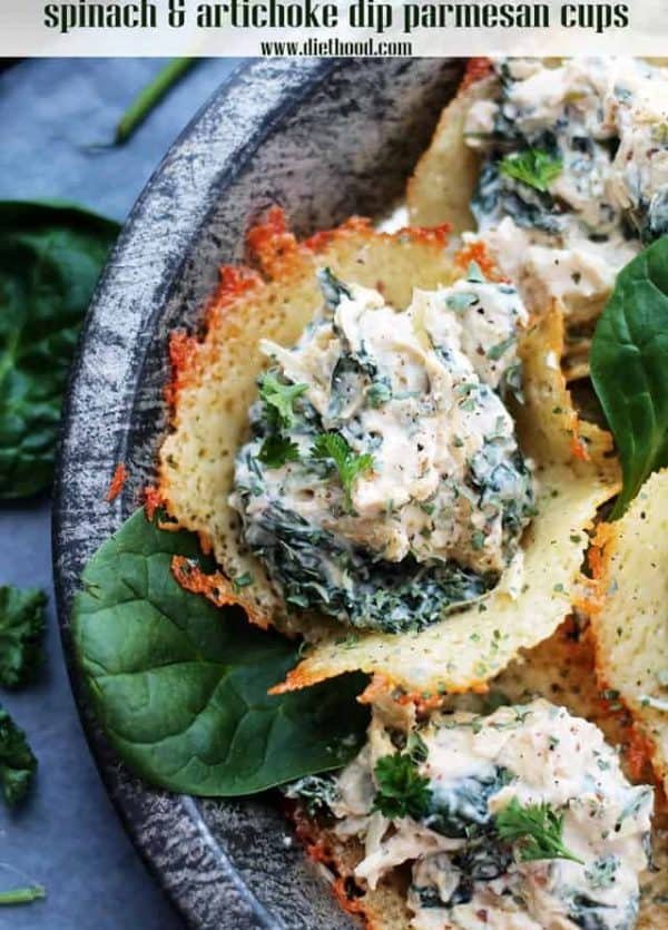 Spinach and Artichoke Dip Parmesan Cups - Creamy, cheesy, spicy Spinach and Artichoke Dip served in delicious, homemade Parmesan Cups.