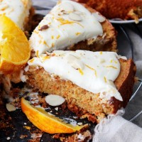 Flourless Carrot Cake with Mascarpone Frosting | www.diethood.com | Flourless, moist, and delicious carrot cake frosted with a delicate and creamy mascarpone frosting. | #recipe #carrotcake #glutenfree #cake
