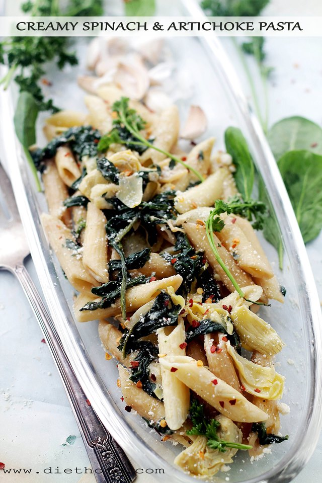 Creamy Spinach and Artichoke Pasta Diethood Creamy Spinach and Artichoke Penne Pasta