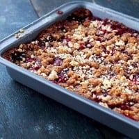 Basil and Cherry Pie Crumble Bars | www.diethood.com | A delicious mixture of basil and cherry pie filling nestled between a sweet and nutty graham cracker crust. | #recipe #dessert #cherries