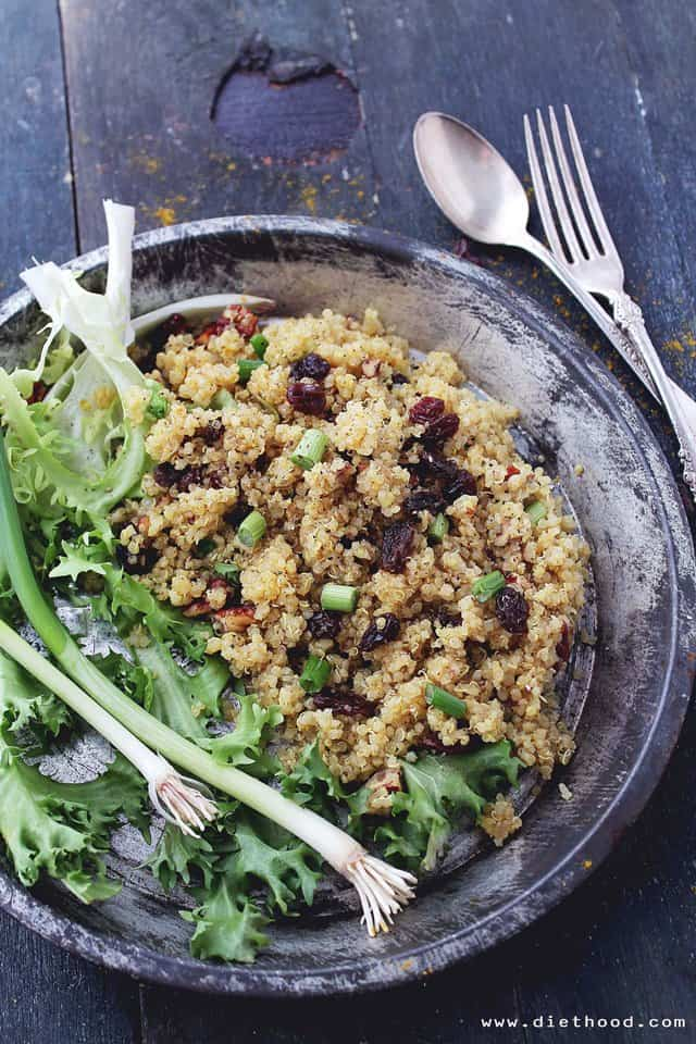 Curried Fried Quinoa | www.diethood.com | Crunchy pecans, sweet raisins, and flavorful curry powder make this Curried Fried Quinoa the perfect warm and light side dish. | #recipe #quinoa #sidedish