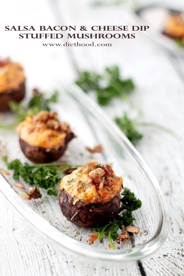 Salsa Bacon and Cheese Dip Stuffed Mushrooms | www.diethood.com | Creamy and cheesy Stuffed Mushrooms, bursting with a mixture of chunky salsa, crispy bacon and cheese. | #appetizers #superbowlrecipes #bacon