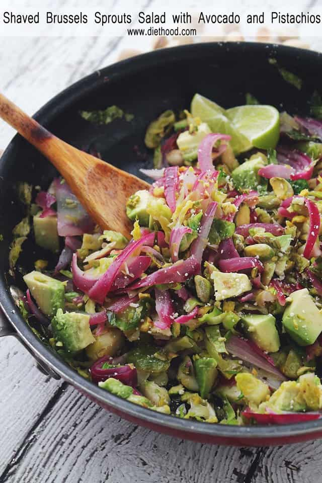 Shaved Brussels Sprouts Salad with Avocado and Pistachios