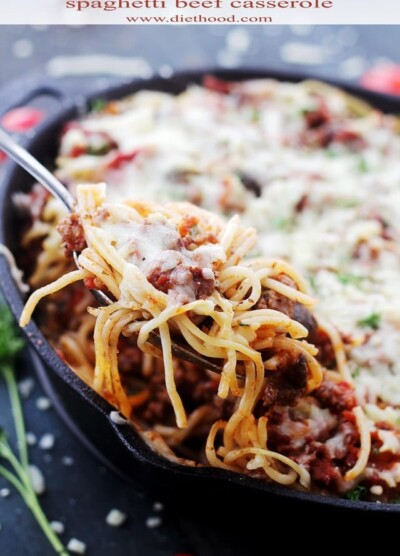 Spaghetti Beef Casserole Recipe | www.diethood.com | Layered spaghetti casserole dinner, combined with a saucy beef mixture cooked in butter olive oil, and topped with shredded parmesan and mozzarella cheese. | #recipe #casserole #pasta #shop #collectivebias
