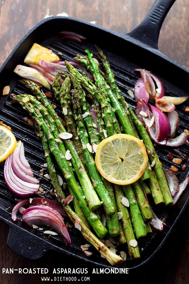 Asparagus Almondine Pan Roasted Diethood Pan Roasted Asparagus Almondine
