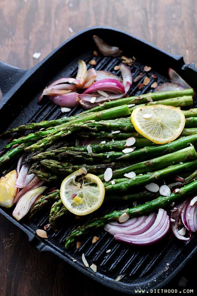 Asparagus Almonds Diethood Pan Roasted Asparagus Almondine
