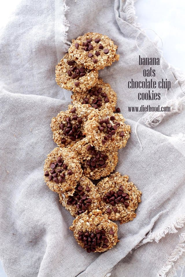 Banana Oats Chocolate Chip Cookies | www.diethood.com | Delicious, healthy cookies, made with just 4 ingredients! | #recipe #cookies