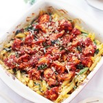 Cheesy Chicken Pasta Bake | www.diethood.com | Creamy, cheesy pasta, chicken, and spinach tossed with tomato sauce and baked until bubbly and delicious! | #recipe #chicken #pasta