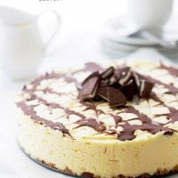 Mint Chocolate New York Style Cheesecake   www.diethood.com   Silky New York Style Cheesecake filled with delicious pieces of Mint Chocolate.   #recipe #cheesecake #chocolate