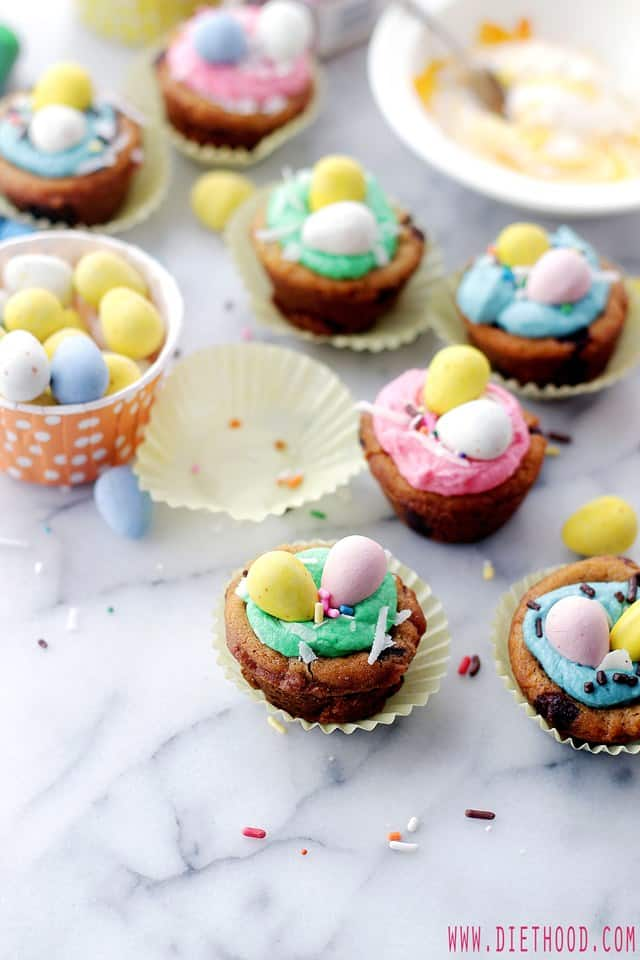 Coconut Buttercream Frosting Cookie Cups Diethood Easter Cookie Cups with Coconut Buttercream Frosting