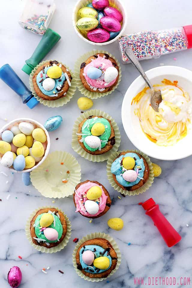 Easter Cookie Cups Frosting Diethood Easter Cookie Cups with Coconut Buttercream Frosting