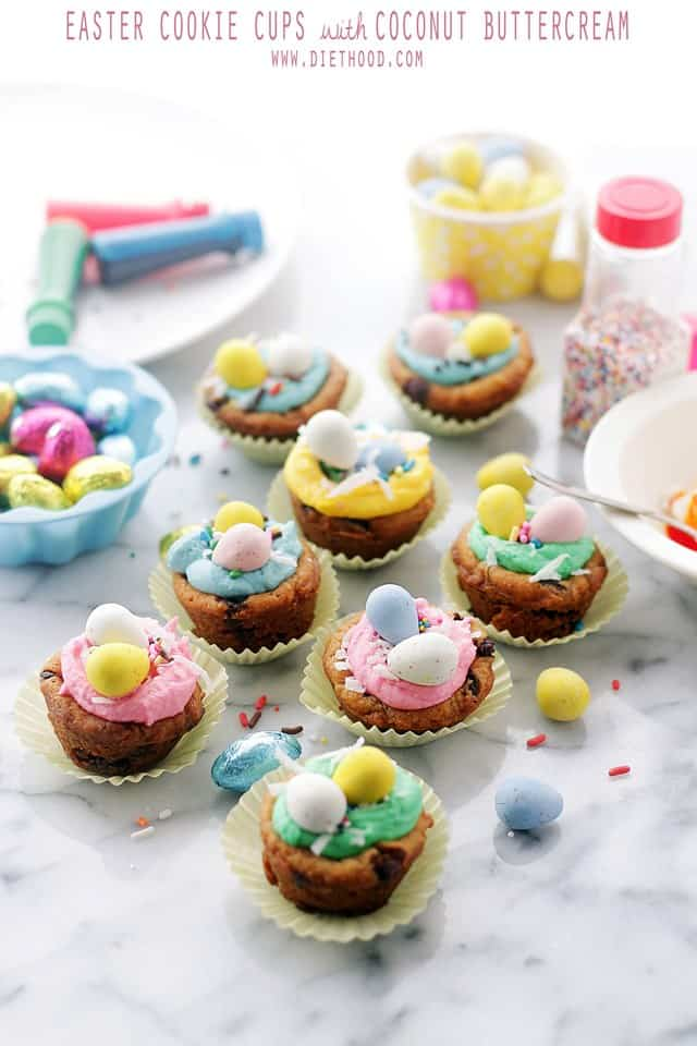 Easter Cookie Cups with Coconut Buttercream Frosting Diethood Easter Cookie Cups with Coconut Buttercream Frosting