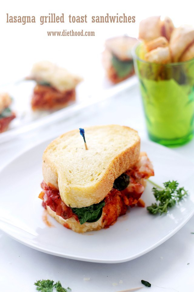 Lasagna Grilled Toast Sandwiches | www.diethood.com | #NewFavorites #CollectiveBias