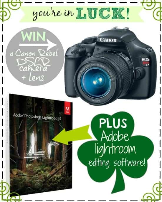 Canon DSLR Giveaway advertisement with image of a camera and a shamrock