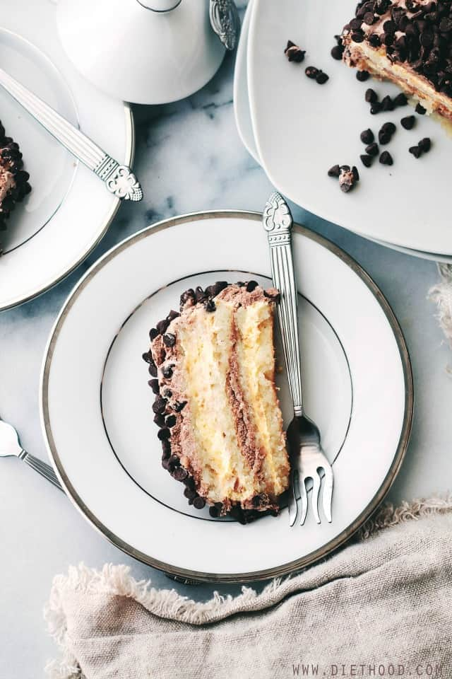 Almond Layer Cake with Whipped Vanilla and Chocolate Frosting | www.diethood.com | Gluten-Free Almond Layer Cake made with egg whites and almond flour, filled with creamy, luscious layers of Vanilla and Chocolate Frosting. | #recipe #cakes #chocolate #glutenfree