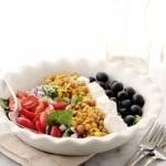 Roasted Sweet Corn Mediterranean Salad {$50 Visa Gift Card Giveaway}