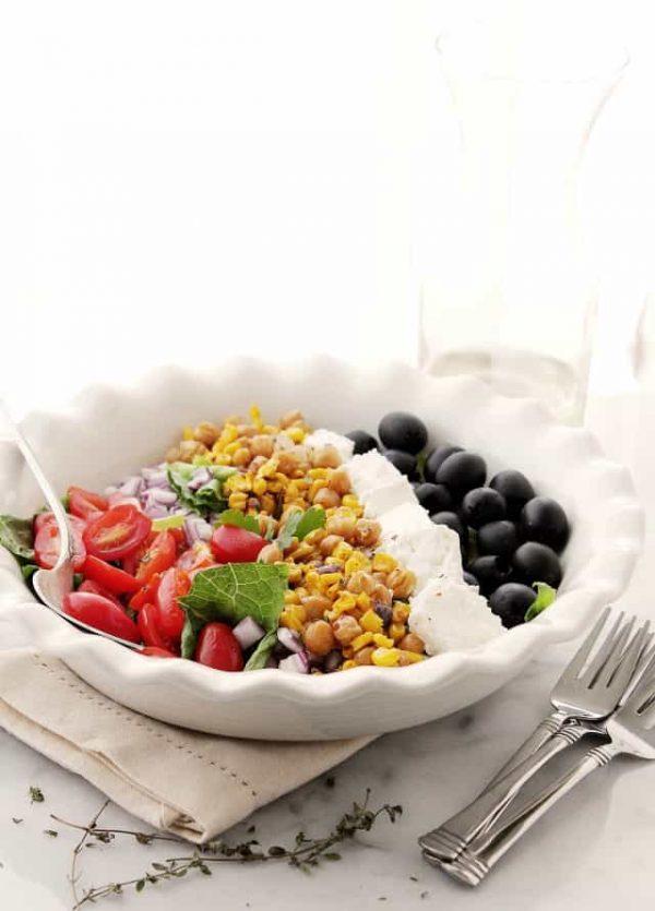 Roasted Sweet Corn Mediterranean Salad   www.diethood.com