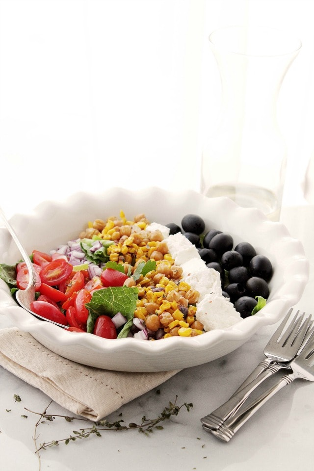 Corn Mediterranean Salad Diethood Roasted Sweet Corn Mediterranean Salad {$50 Visa Gift Card Giveaway}