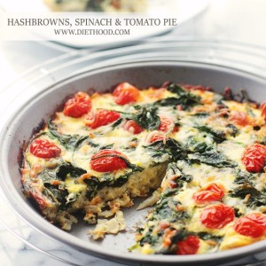 Hashbrowns, Spinach and Tomato Pie
