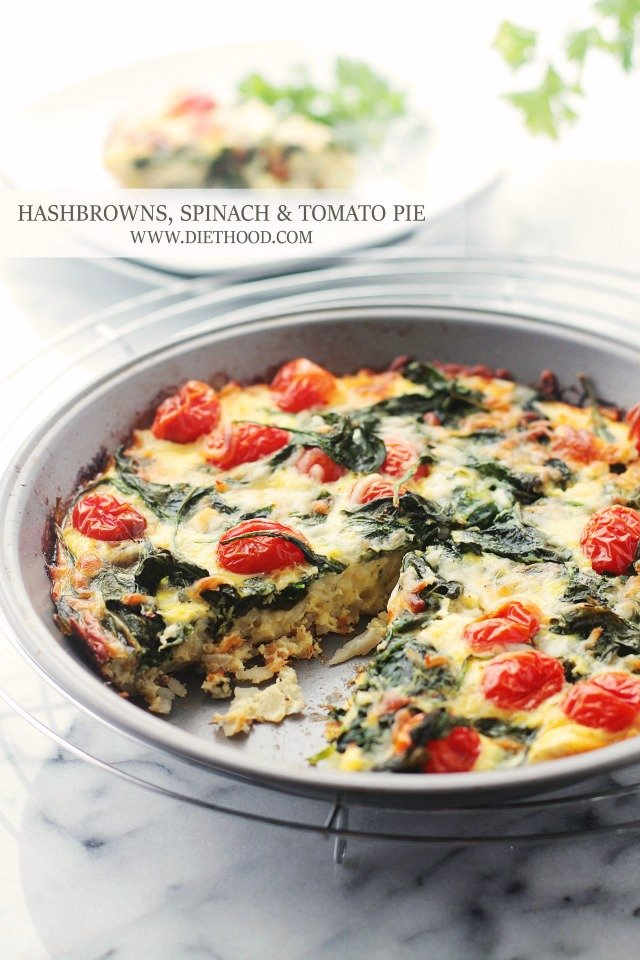 Hashbrowns Spinach and Tomato Pie Diethood Recipe Hashbrowns, Spinach and Tomato Pie