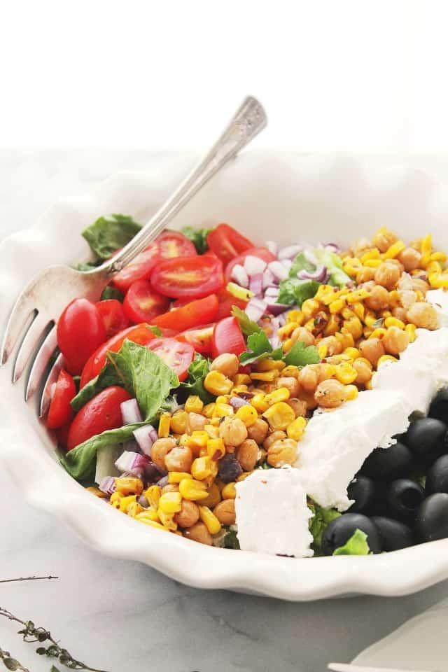 Mediterranean Salad with Sunshine Corn Diethood Roasted Sweet Corn Mediterranean Salad {$50 Visa Gift Card Giveaway}