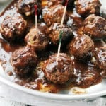 Pineapple Barbecue Sauce Glazed Meatballs | www.diethood.com | Delicious, juicy, homemade Meatballs prepared with a sweet and tangy Pineapple Barbecue Sauce. | #recipe #meatballs