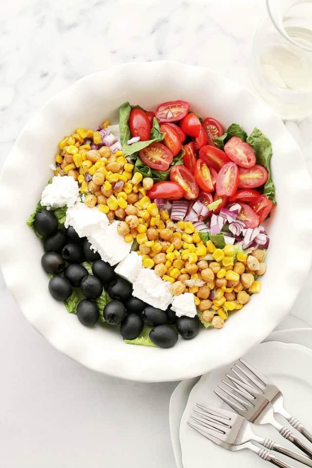 Roasted Sweet Corn Mediterranean Salad Diethood Roasted Sweet Corn Mediterranean Salad {$50 Visa Gift Card Giveaway}