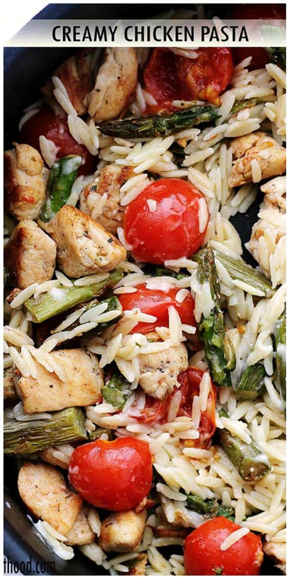 Creamy Chicken Pasta with orzo, asparagus, and tomatoes