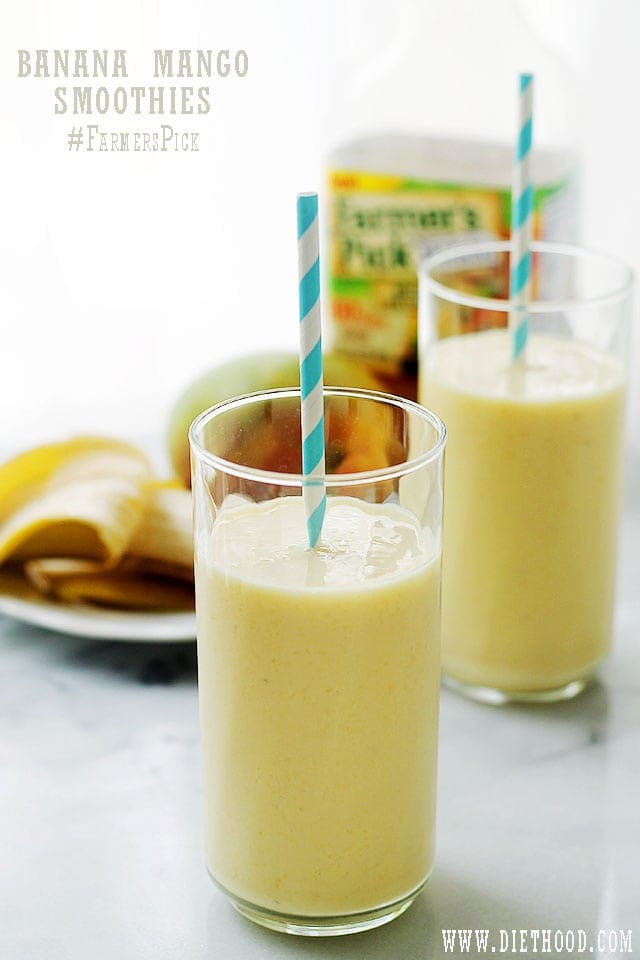 Banana Mango Smoothies | www.diethood.com | Banana Mango Smoothies made with fresh mangoes, bananas, yogurt and Farmer's Pick by Welch's 100% Mango Juice. | #recipe #smoothies #farmerspick