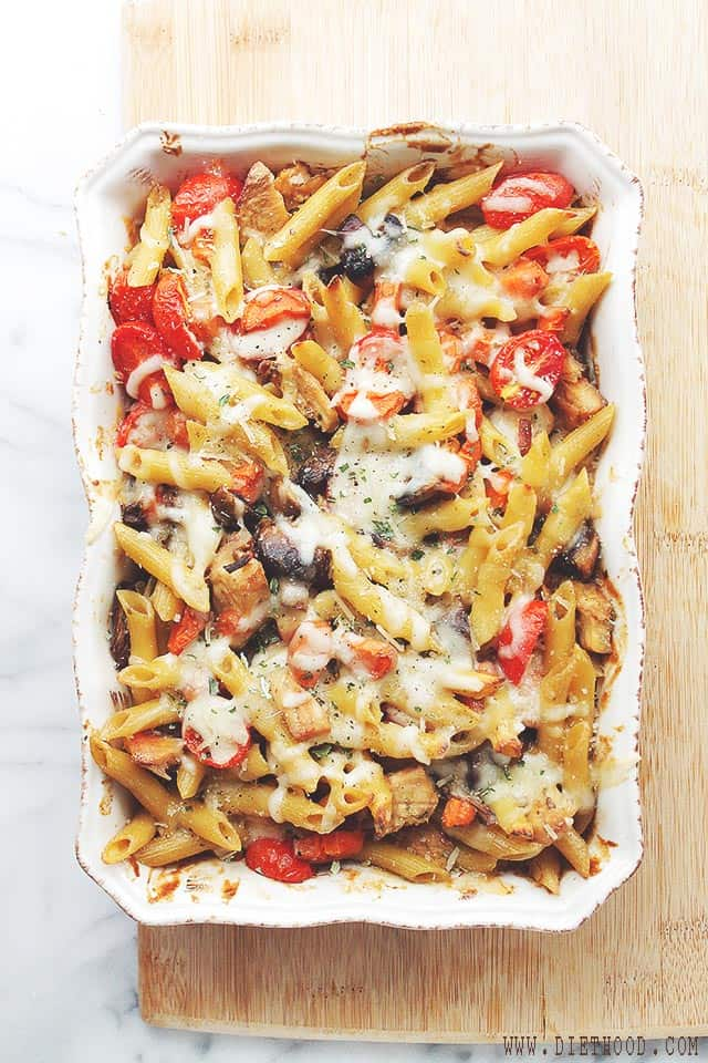 Chicken and Vegetables Pasta Bake | www.diethood.com | Chicken and Vegetables Pasta Bake is a favorite and easy chicken, vegetable and pasta dish, featuring beautiful colors and amazing flavor! | #recipe #pasta #chicken