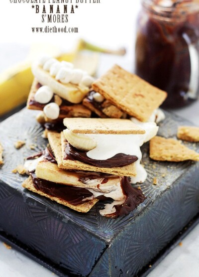 Chocolate Peanut Butter Banana S'mores | Chocolate Peanut Butter Banana S'mores | www.diethood.com | S'mores just got WAY BETTER! | #recipe #smores #dessert