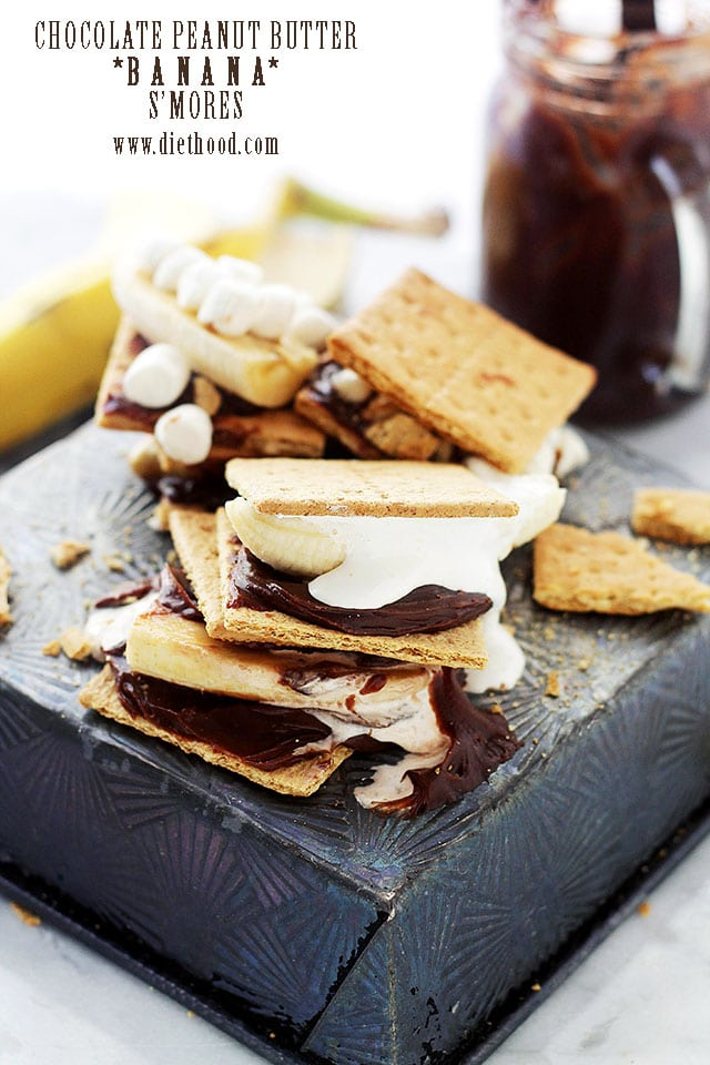 Chocolate Peanut Butter Banana Smores by Diethood1 Chocolate Peanut Butter Banana Smores